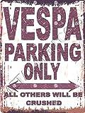 Vespa Parken Schild klein 15,2x 20,3cm 15x 20cm RETRO VINTAGE STIL Metall Dose Art Wand Schuppen Werkstatt Garage Classic Cars