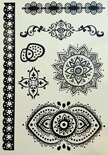 MANDALA NOIR tatouages temporaires au henné pour le main et corps w299b