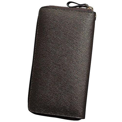 Oneworld Herren Rindleder Clutch Handyetui Universalbörse Geldbörse Börse Geldbeutel Geldtasche Portemonnaie 19.5x10.5x2.5cm(BxHxT) Braun