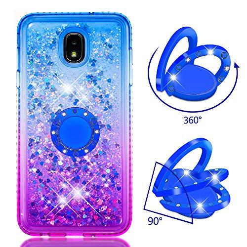 Phcases Cover per Samsung Galaxy J7(2018)/J5(2018),Cover Glitter Liquido, Brillantini Sabbia Custodia con Ultraslim Morbida Silicone Trasparente TPU Paraurti Cover Protettiva(Viola Blu).