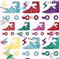 bunte Retro Rollschuhe Glitzer Stickers aus Japan