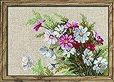 RIOLIS - Juego de punto de cruz, diseño de flores, multicolor