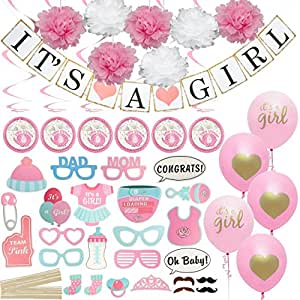 Baby Shower Decorations It S A Girl Banner And Balloons Pink Photo Booth Props Elephant Theme Swirlers Flower Decor Favors Party Supplies Set For Girls All In One Value Bundle Amazon In Home