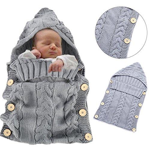 Sacco a pelo invernale per bambini 2.5 Tog - Sunroyal Sacco a pelo per neonati di viaggio 70cm/0-12 mesi - bambino sacco a pelo di lana, morbido e comodo, coperta per divano e letto, sacco a pelo pesce per Passeggino (Grigio chiaro)