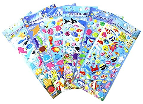 Happy Underwater Sea World Stickers 6 Sheets with Angelfish, Sharks, Starfish, Hippocampus - PVC Ocean Foam Fish Stickers for Kids - 240 Stickers