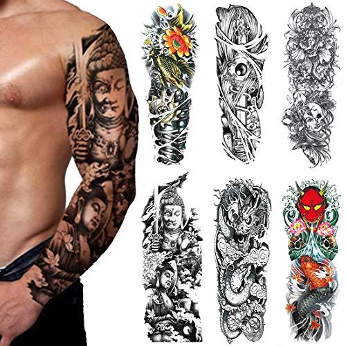 Extra Große Fake Tattoos, Voller Arm Temporäre Tattoos Aufkleber Für Männer und Frauen, Drachen, Fische (6 Stück)(3)