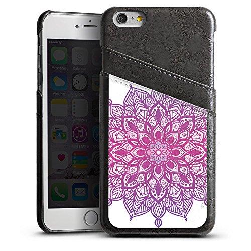 Apple iPhone 5 Housse Outdoor Étui militaire Coque Mandala Été Rose vif Étui en cuir gris