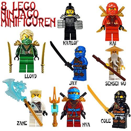 Ninjago Lego Minifiguren Set Ultimate Karlof / Lloyd / Jay / Kai / Sensei Wu / Zane / NYA Cole mit Waffen ( 8 Minifiguren )