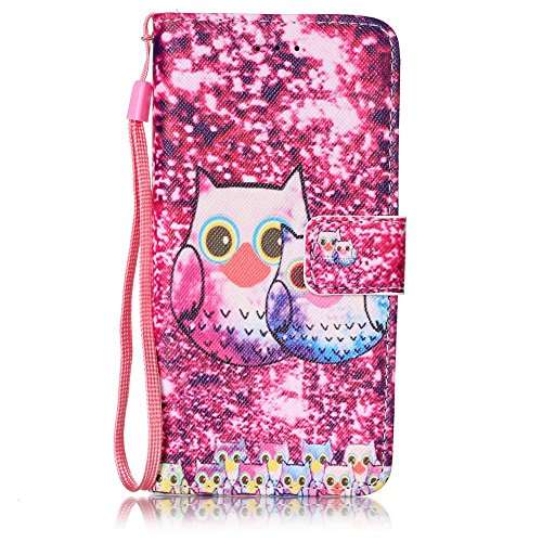 Schutzhülle für iPhone 6s Plus Tasche Gold,BtDuck Solide Slim PU Leder Flip Cover Hülle Lanyard Ledertasche Wallet Case Blossom Blume Elegant Embrossed Handytasche für iPhone 6 Plus 5,5 Zoll Cases Etu Eulen