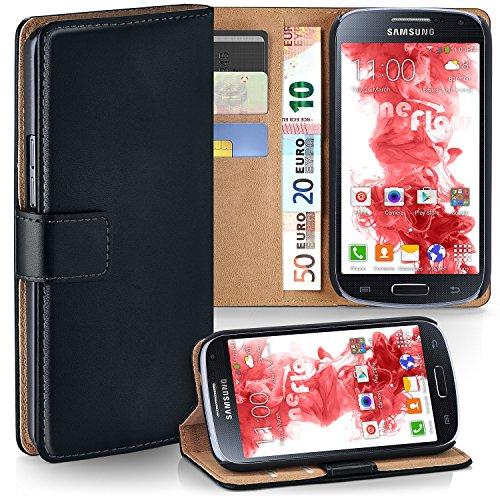 moex Samsung Galaxy S4 | Hülle Schwarz mit Karten-Fach 360° Book Klapp-Hülle Handytasche Kunst-Leder Handyhülle für Samsung Galaxy S4 / S IV Case Flip Cover Schutzhülle Tasche