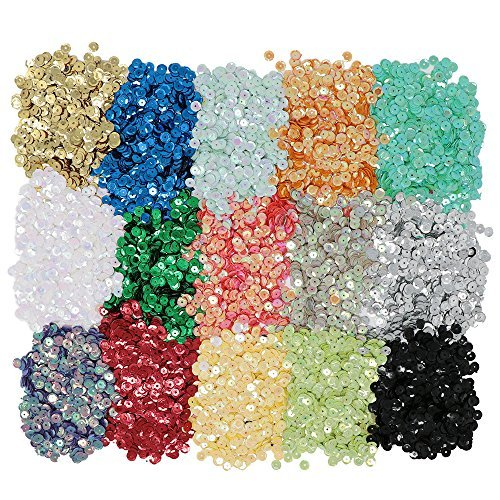 vapker 15 colores 6 mm Loose lentejuelas arco iris taza Bulk de lentejuelas iridiscente Spangles Craft Supplies varios colores para DIY Arts Crafts Making (150gram)