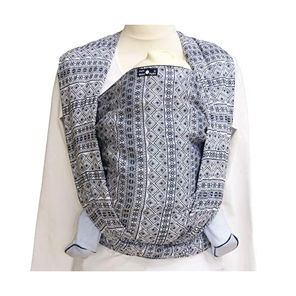 Didymos Indio Baby Wrap Sling (Size 4, Dark Blue/White) Didymos Various carrying positions, in front, sideways an on the back Special, diagonally stretchable cloth to give optimal support Holds your baby in the atomically correct posture 3