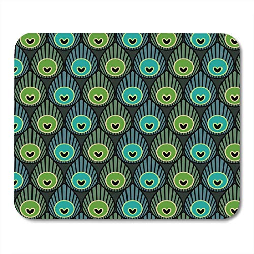 Deglogse Gaming-Mauspad-Matte, Green Bird Blue Beautiful Abstract Peacock Feathers BO Ho Winter Geometric Colorful Beauty White Border Mouse Pad