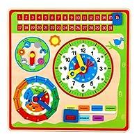 LELIN 0004017 Wooden Calendar Wall Mount Clock Childrens Learning Educational Weather Season Toy, Multicoloured