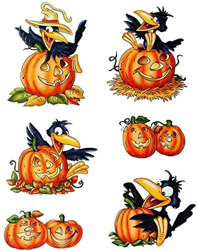 Unbekannt 6 TLG. Set _ Fensterbilder -  lustiger Rabe mit Kürbis  - Herbst / Blätter - Laubblätter - statisch haftend - selbstklebend + wiederverwendbar / Sticker Fen.. -