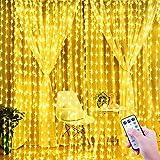 ShinePick USB Lichterkettenvorhang, 3m x 3m 300 LED Lichtervorhang, 8 Beleuchtungsmodi Fernbedienung Timer Lichternetz,Wasserdicht Lichterkette für Weinachtsbeleuchtung Hochzeit Haus Deko(Warmweiß)