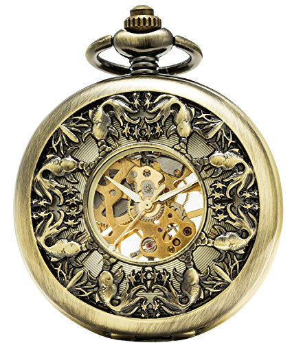 SEWOR Japan Koi See Through Mechanical Hand Wind Pocket Watch Lucky Gift (Gold)