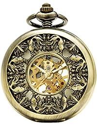 SEWOR Grace Koi esqueleto reloj de bolsillo Bronce mecánica mano viento con funda de piel caja de regalo