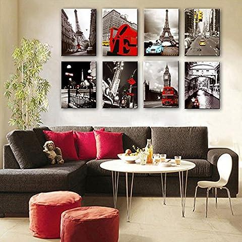 M&DZ 6PCS célèbre Petit cadre européen de la peinture décorative série architecturale peinture la salle de séjour salle à manger den peintures monocouloir