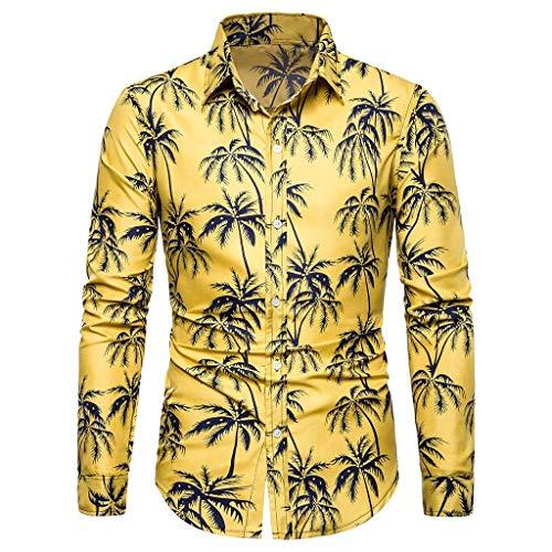 PAOLIAN Herren V-Ausschnitt Hemd Langarm Hawaiihemd Sommer Boho Leinen Langarm Basic T-Shirt Bluse Fit Slim Gelb Gedrucktes Oberteil S-XXL -