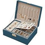 Boîte à Bijoux pour Femme, Coffret à Bijoux en Cuir Verrouillable de 2 Couches Organisateur à Bijoux, Petit Jewelry Stockage