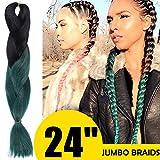 "Ombre Jumbo Braiding Hair (1 Piece) 24"" Afro Twist Braiding Hair Extensions 2 Tone Colors (black dark green)"