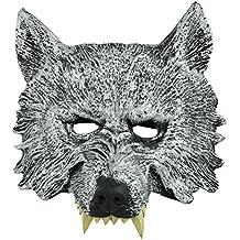 LEORX Maschera Testa di Lupo grigio per Cosplay Halloween Masquerade