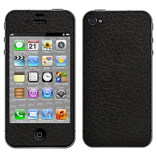 "Skin Apple iPhone 4 / 4s ""FX-Carbon-Black"" Sticker Autocollant FX-Leather-Black"