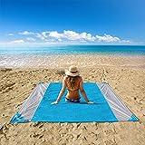 OUSPT Picknickdecke,Stranddecke Campingdecke Strandtuch 210 x 200 cm, Picknickdecke Campingdecke Strandtuch,4 Befestigung Ecken, Ultraleicht kompakt Wasserdicht und...