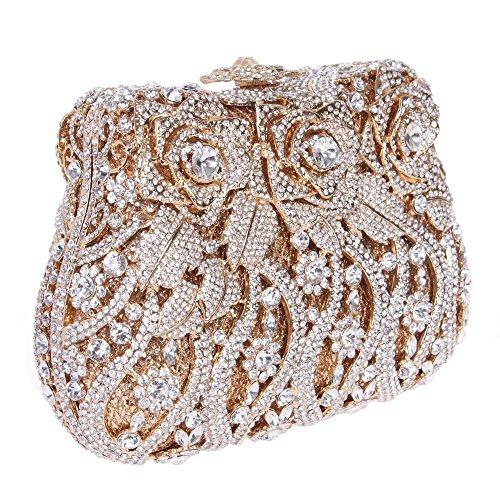 Damen Clutch Abendtasche Handtasche Geldbörse Luxus Funkelt Glitzertasche Blume Rose Tasche mit wechselbare Trageketten von Santimon Silber Santimon pbn7t