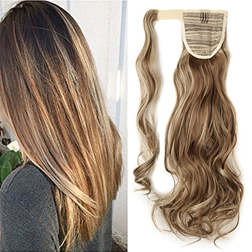 "17"" Queue de Cheval Postiche Extension de Cheveux Ondulé - Wrap Around Ponytail Clip in Hair Extensions - Marron clair/Blond cendré (43cm-120g)"