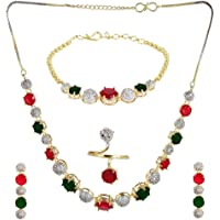 YouBella Jewellery Set for Women American Diamond Combo of Necklace Set with Earrings, Bracelet and Ring for Girls and…