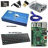 Raspberry Pi 2 Modèle B Quad Core Starter Kit complet avec Mini clavier sans fil et l'adaptateur WiFi (Raspberry Pi B Plus + WiFi Dongle + 8 Go + Carte SD Clear Case Clear + alimentation + câble HDMI) (Effacer)