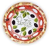 Lashuma Handgemachter Pizzateller Olive aus Italienischer Keramik, großer Teller rund ca. 33 cm