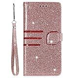 Miagon Oro rosa Custodia per Samsung Galaxy S10e PU Pelle Glitter Luccichio Portafoglio Porta Carta Guscio Caso Case Protettiva Magnetico Stile Libro Cover