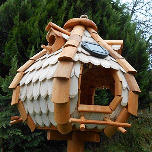 Großes Luxus Solar Licht Vogelhaus Holz Bunt Vogelfutterhaus Vogelhäuschen K32S LED (Braun / Weiß) - 4