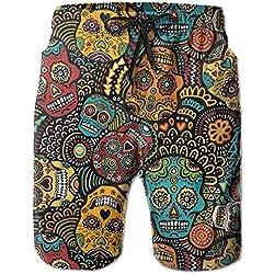 New mexican sugar skulls men's beach pants, shorts beach shorts wwim trunks