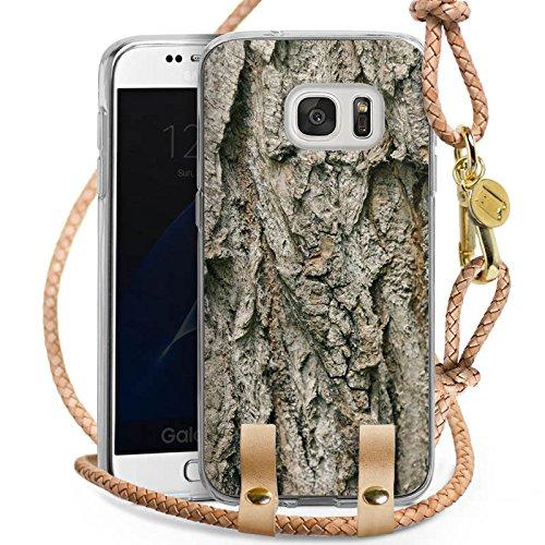 DeinDesign Samsung Galaxy S7 Carry Case Hülle Zum Umhängen Handyhülle mit Kette Tree Baum Rinde (Rinde Frei)
