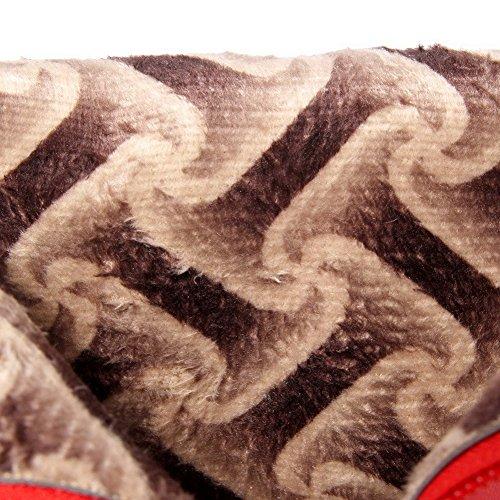 VogueZone009 Donna Scarpe A Punta Tacco Alto Bassa Altezza Puro Stivali con Studded Strass Rosso