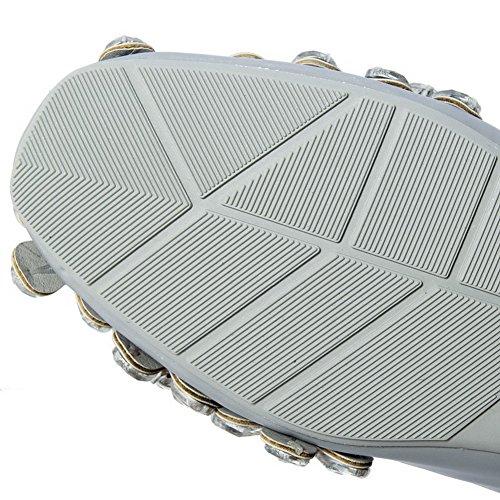 VogueZone009 Femme Mosaïque Matière Souple à Talon Bas Tire Carré Chaussures à Plat Gris