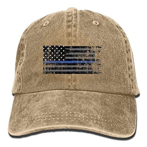 Yutirewer American Thin Blue Line Flag Unisex Adult Denim Dad Baseball Hat Sports Outdoor Cowboy Cap for Men and Women