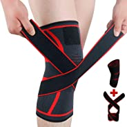 Knee Brace Support Adjustable Compression Sleeve Wraps Pads New Generation Knee Protector for Single Pack Red, Size Large