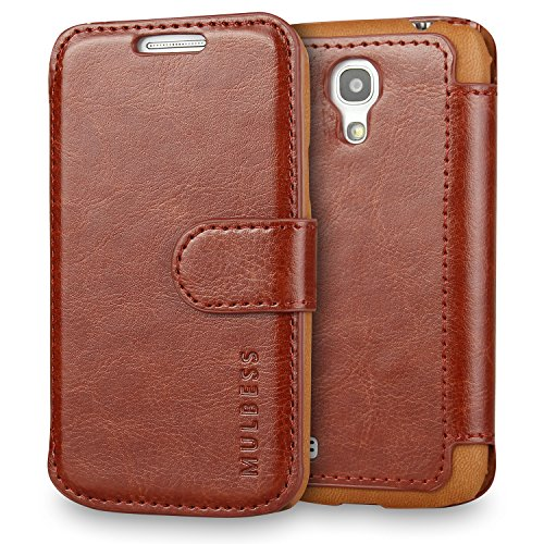 Mulbess Samsung Galaxy S4 Mini hülle Kaffee Braun,Ledertasche für Samsung Galaxy S4 Mini Tasche Leder