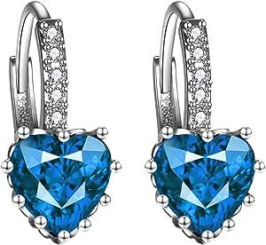 Orecchini a bottone eleganti a forma di cuore con pietre zircone AAA Orecchini a forma di cuore per donna