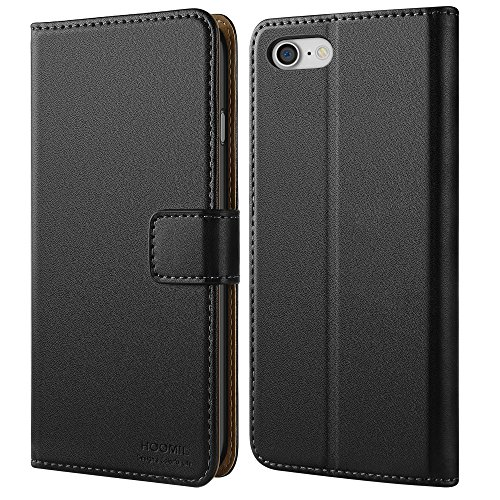 iPhone 7 Hülle, iPhone 8 Hülle, HOOMIL Handyhülle iPhone 7 Tasche Leder Flip Case Brieftasche Etui Schutzhülle für Apple iPhone 7 / iPhone 8 Cover (4,7 Zoll) - Schwarz