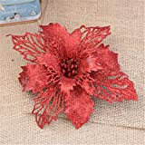sunnymi Weihnachtsbaum Ornament Bowknot Supplie,10CM Blumen-Simulation Anhänger,Weihnachten schöne künstliche dekorative Künstliche Blumen (10CM, Rot)
