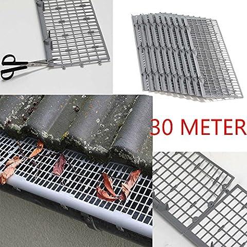 30metri protezione fogliame professionale/grondaie per scomparto in grigio, montaggio facile