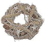 CHICCIE AST Holzkranz mit Zapfen Glitzer Sternen - 35cm Weihnachten Deko Dekokranz Türkranz Tischkranz
