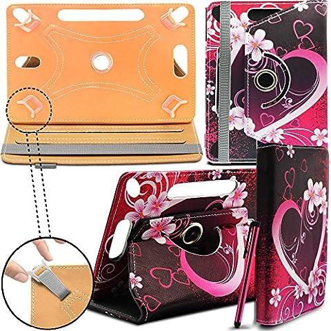 Lenovo Tab 2 A7-30 Neues Design Universelle um 360 Grad drehbare PU-Leder Designer bunte Hülle mit Standfunktion - Cover - Tasche - Die Liebe Herzen / Love Hearts - Von Gadget