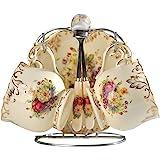 YOLIFE Blommande buskar mönster elfenben keramisk tekopp och tefat set, porslin brittisk tekoppset, paket med 2 med silvermet